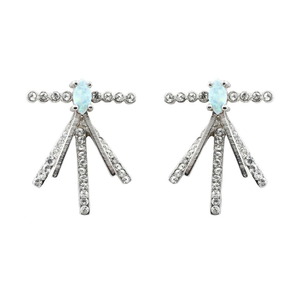 Sundance Earrings (view more colors) - ANTIQUE SILVER / SIMULATED OPAL / WHITE CRYSTAL - The 2 Bandits - 1