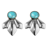 Scarecrow Earrings (view more colors) - ANTIQUE SILVER / HOWLITE TURQUOISE - The 2 Bandits - 9