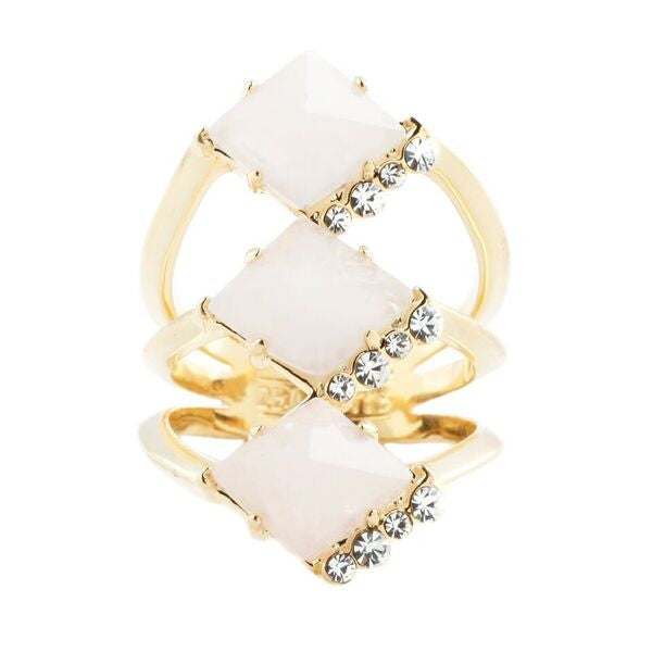 Triple Prism Ring (view more colors) - 14K GOLD PLATED / ROSE QUARTZ / WHITE CRYSTAL / 7 - The 2 Bandits - 1