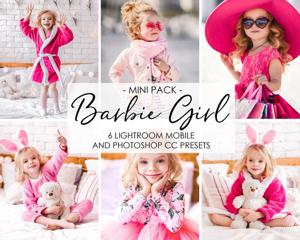 Barbie Girl Presets, Children Presets, Pink Presets, Lightroom Mobile and Photoshop
