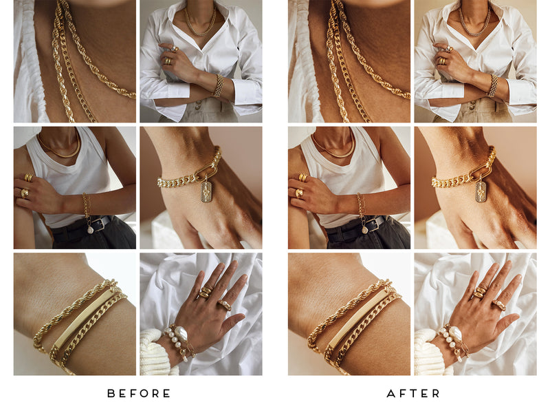 Gold and Skin Jewelry Lightroom Presets, Photoshop Filters