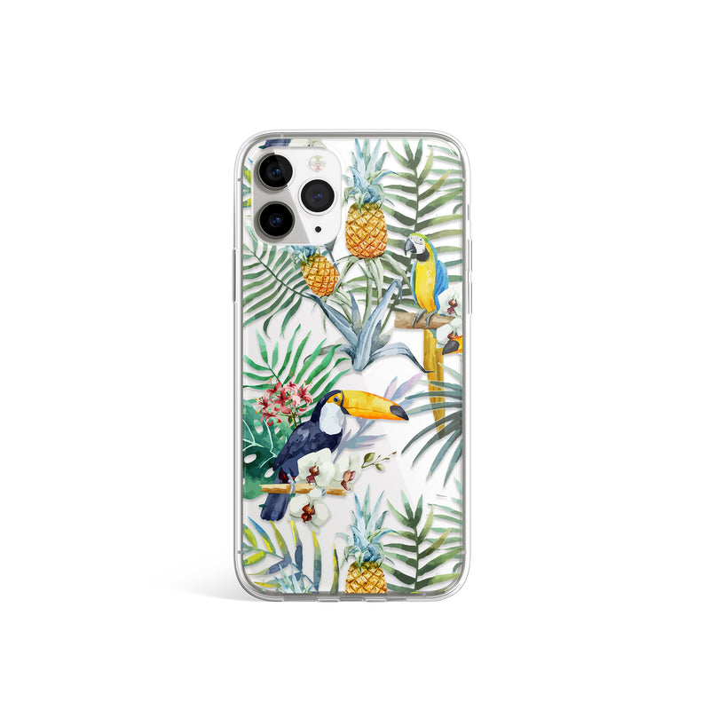 Jungle Birds Print iPhone Case, Tucan Parrots Cover, iPhone 11 X Xs Xr