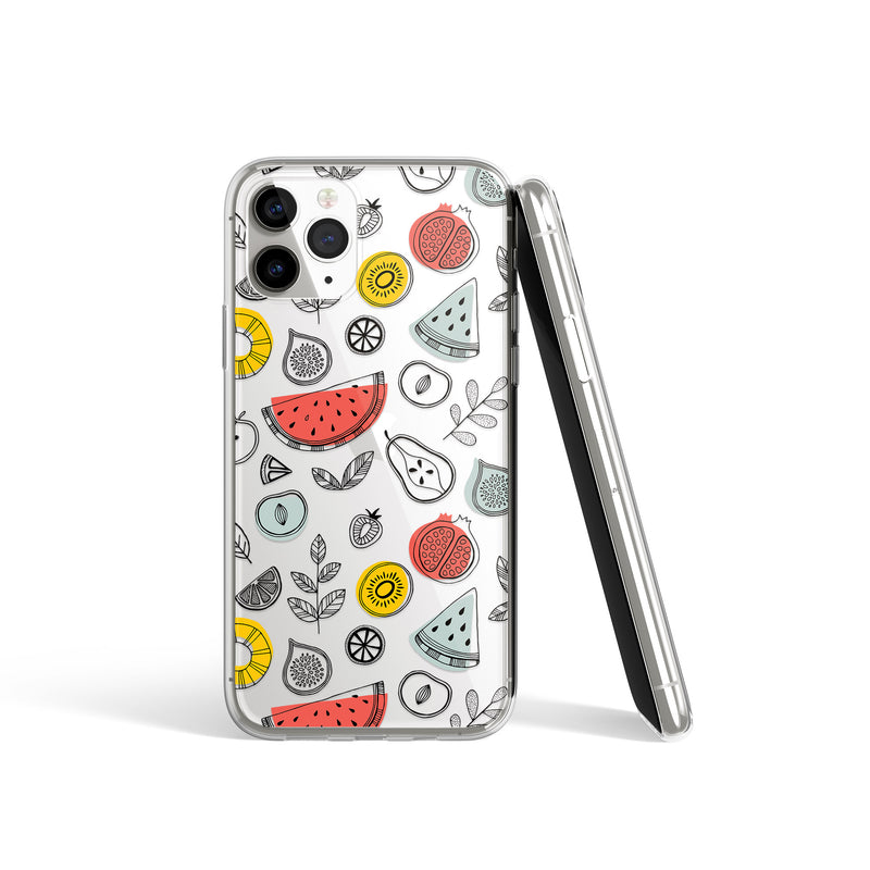Summer Fruits Print iPhone Case, Avocado Melon Lemon Cover, iPhone 11 X Xs Xr