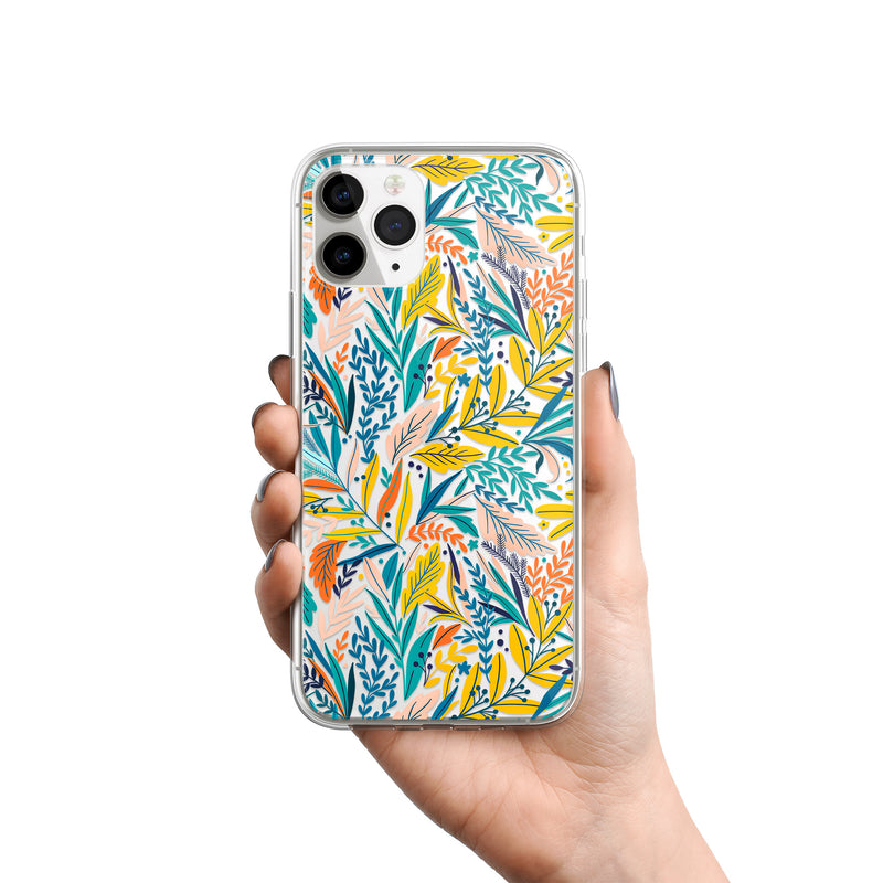 Colorful Forest Jungle Leaves Pattern iPhone Case, Silicone Case For iPhone 11,XS,X