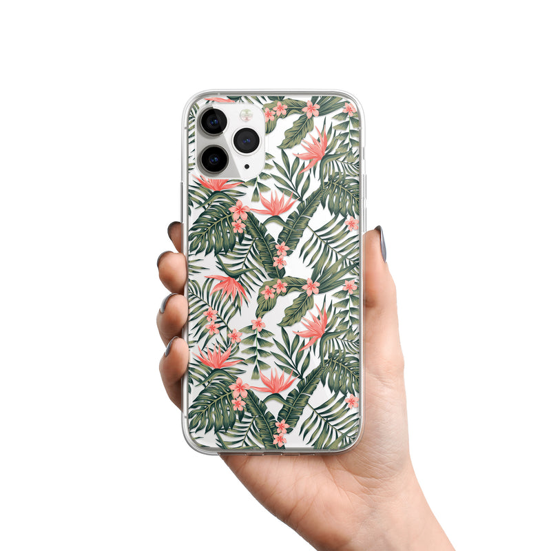 Coral Dreams - Floral Print iPhone Case, Green Leaves Pink Flowers