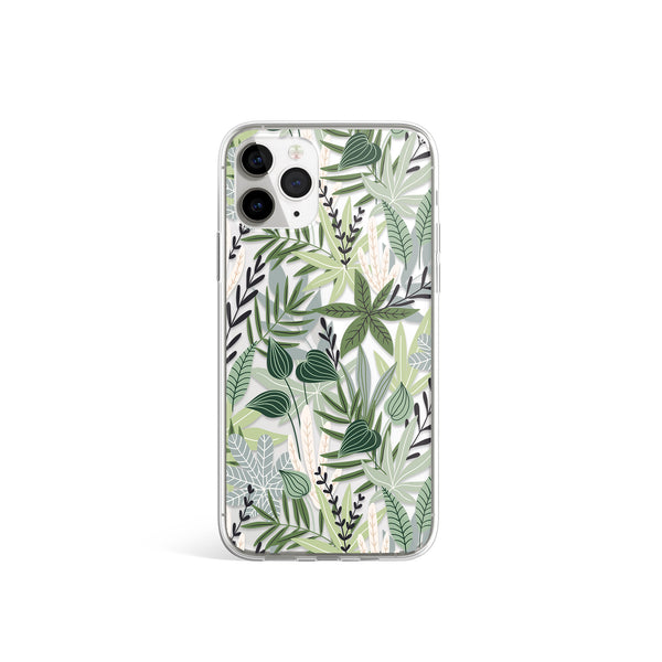 Deep Greens Leaf Print iPhone Soft Case, Green Leaves iPhone Cover