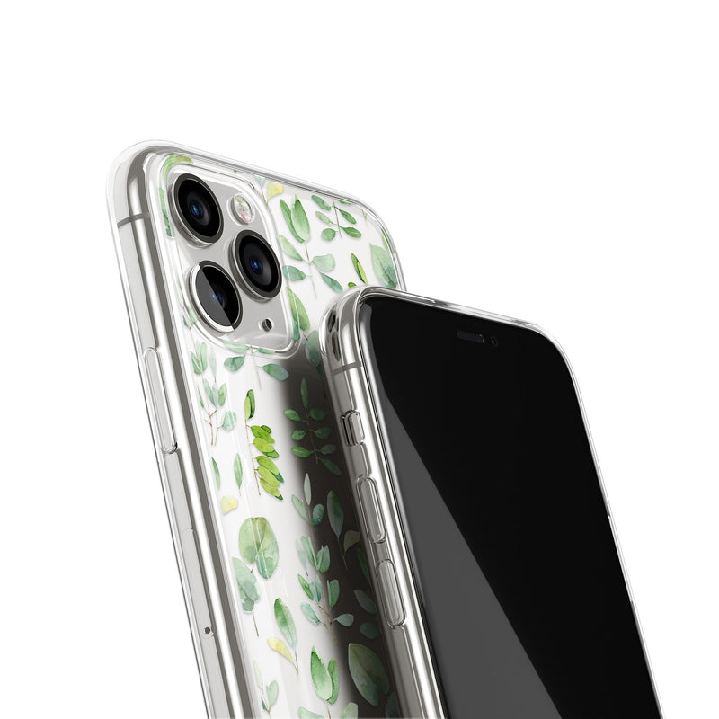 Delicate Greenery Leafy Floral iPhone Case, Silicone Case For iPhone 11,XS,X