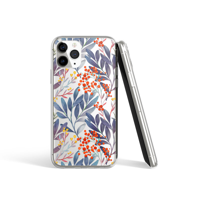 Fruity Forest Floral Pattern Print iPhone Case, Blue Red Fruity Case