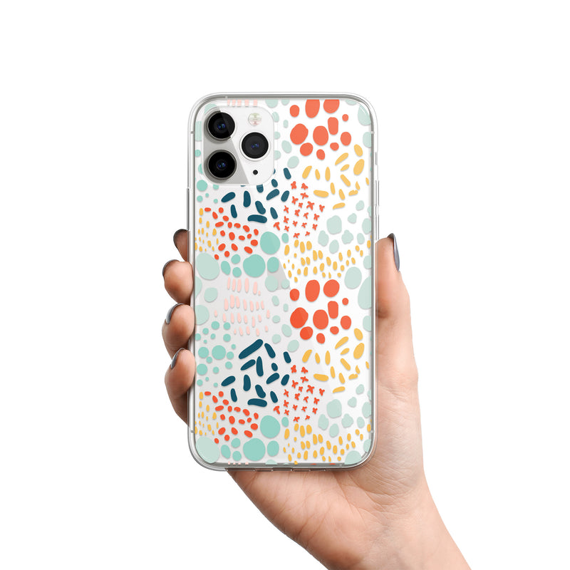 Happy Dots Animal Print iPhone Clear Case, Colored Polka Dots Cover