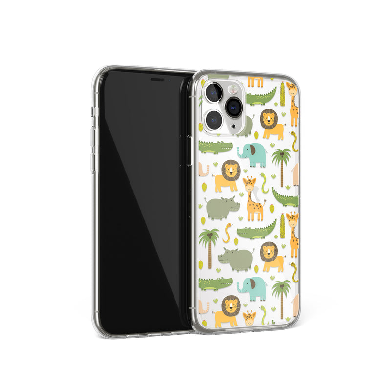 Happy Zoo Animal Print Pattern iPhone Case, iPhone 11,XS,X