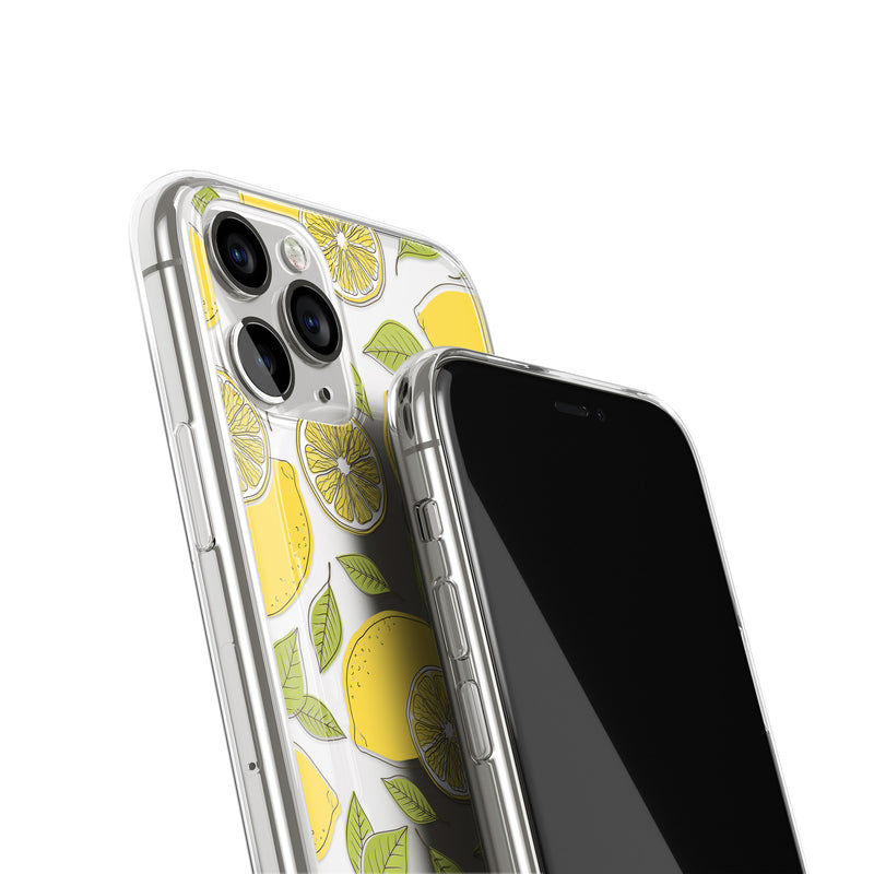 Lemons Fruits Print iPhone Case, Fruity Yellow Lemon