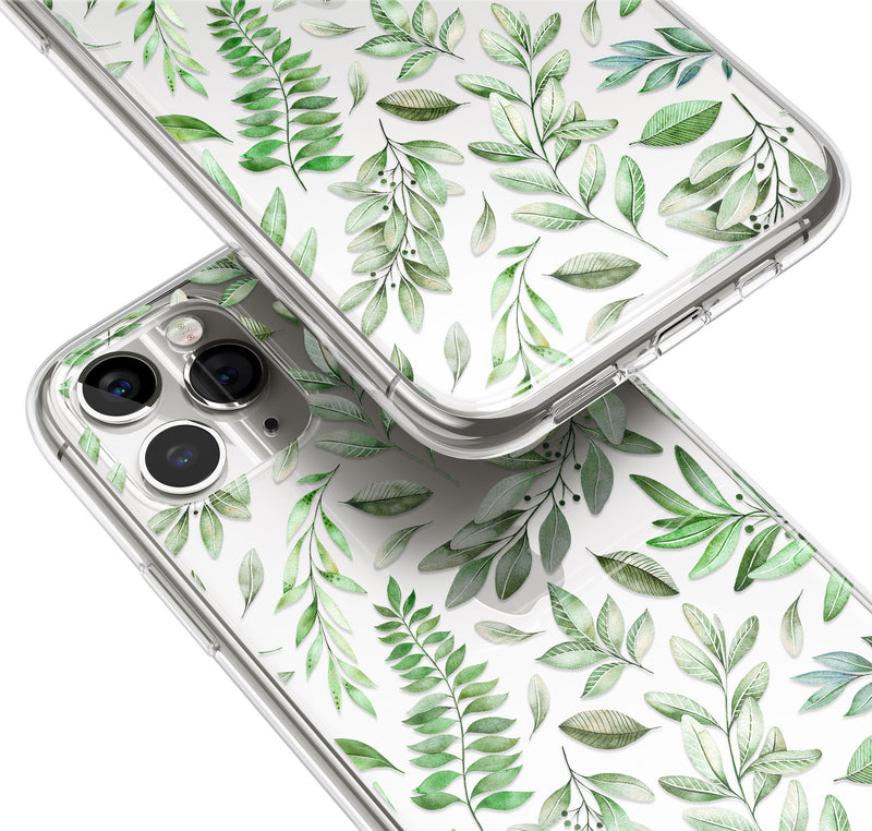 Olive Leaves Pattern Print iPhone Case, Green Leaf iPhone 11 Cover