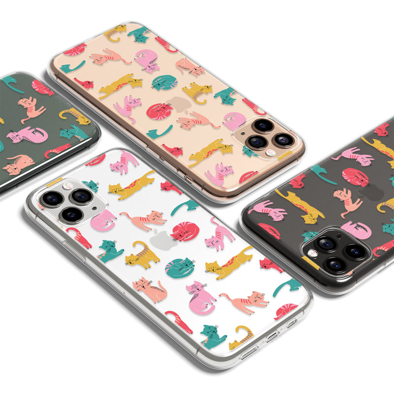 Cat Pattern Print iPhone Soft Clear Case, Animal Yoga iPhone 11 Cover
