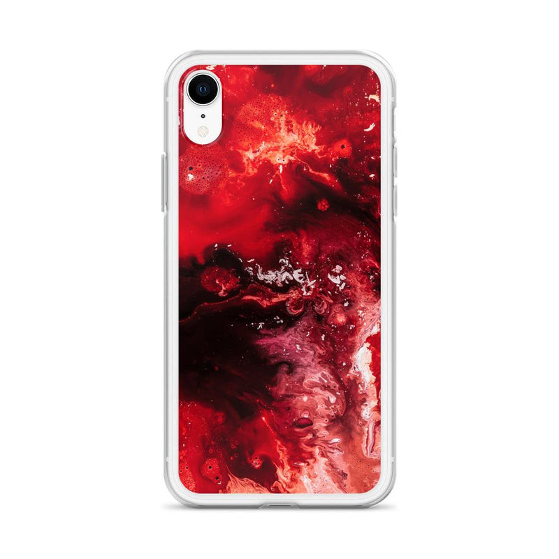 Bloody Mary Red Silicone Marble Print iPhone Case