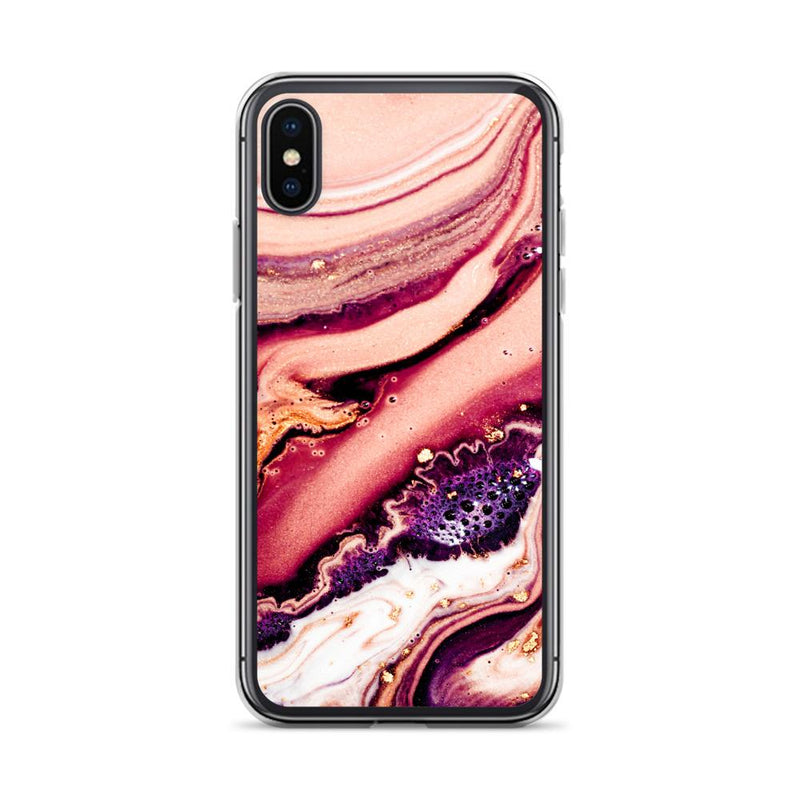 Velvet Dunes Purple And Pink Peach Marble iPhone Case, Silicone Case For iPhone 11,XS,X