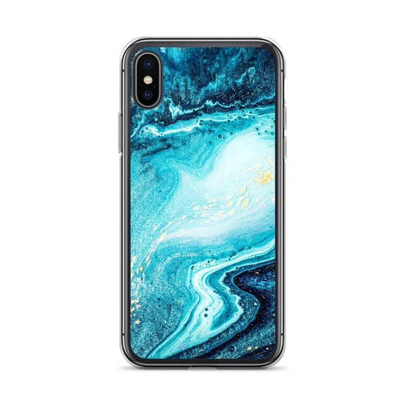 Electric Ocean Blue Marble iPhone Case, Silicone Case For iPhone 11,XS,X