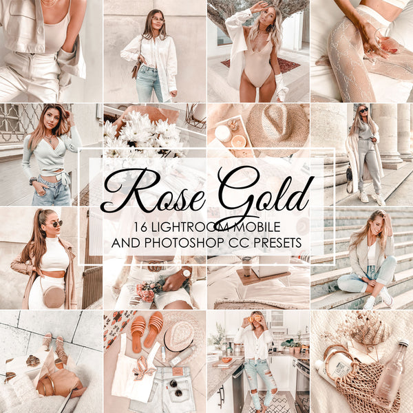 Rose Gold Lightroom Presets and Photoshop Filters