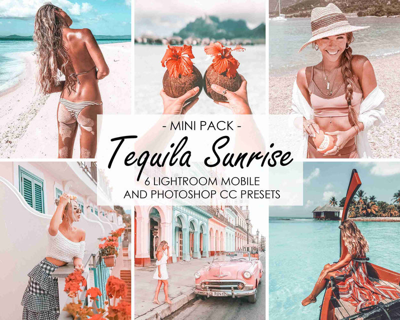 Tequila Sunrise Presets For Instagram And Facebook Feed, Blue And Pink Tones
