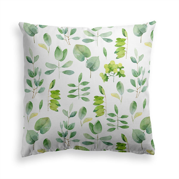 Decorative Throw Pillow Leafy Floral Pillow Print, Green Leaf Pillow