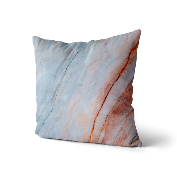 Decorative Throw Pillow Dreamy Sunset, Pink And Blue Marble Pillow