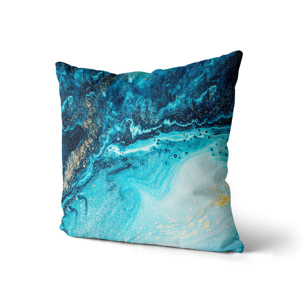 Electric Ocean Throw Pillow, Blue Sea Decorative Pillow, Teal Home Decor