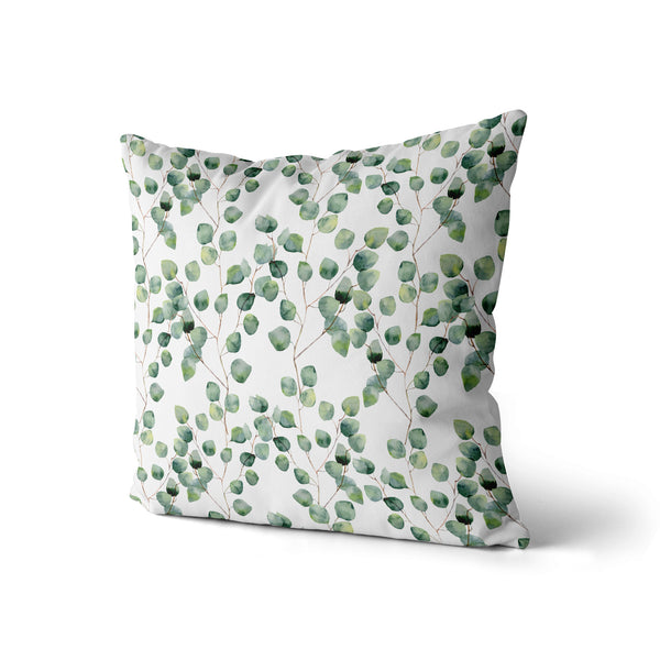 Decorative Throw Pillow, Floral Green Pillow Print, Tree Plant Leaf Pillow, Contemporary Modern Home Decor