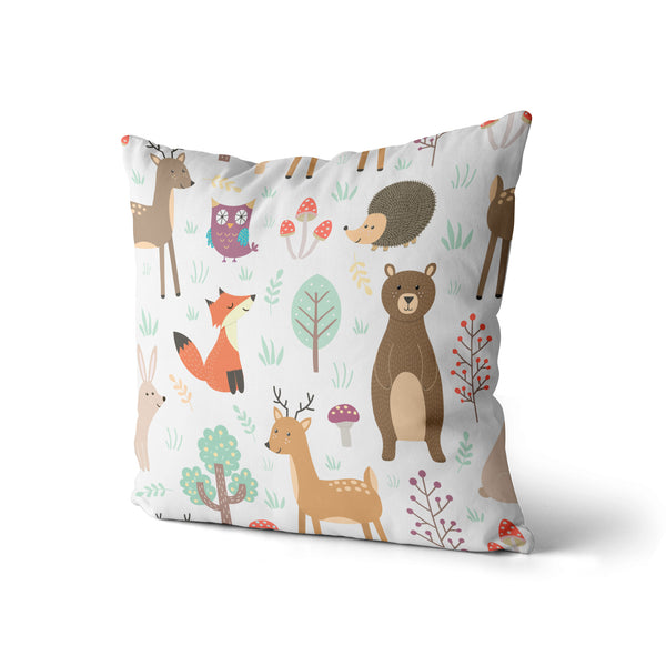 Fox Deer Animal Pillow Print, Kids Children Pillow, Contemporary Modern Home Decor