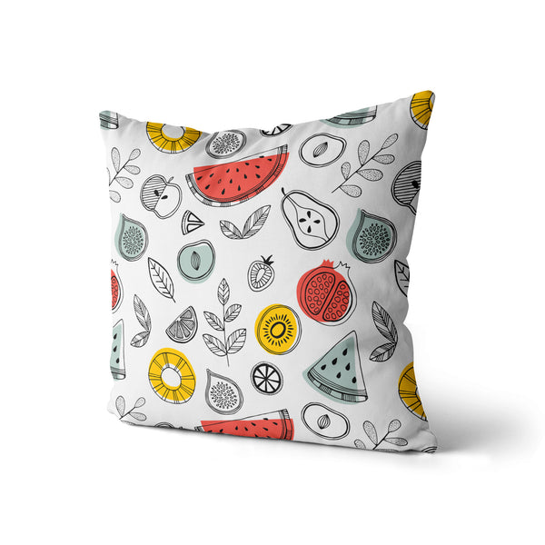Summer Fruits Pillow Print, Avocado Melon Lemon Pillow, Home Decor