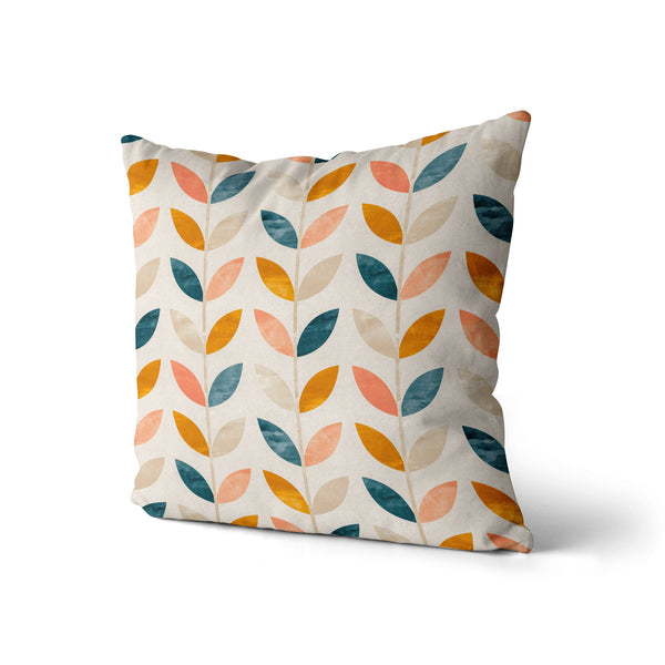 Decorative Throw Pillow Vintage Leaves Print, Retro Orange Leaf Pillow