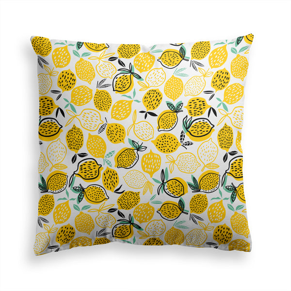 Yellow Lemons Pillow Print, Lemon Citrus Pillow, Modern Home Decor
