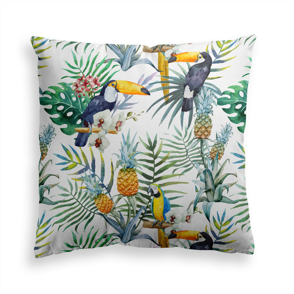 Jungle Birds Pillow Print, Toucan Parrots Pillow, Modern Decor Pillow