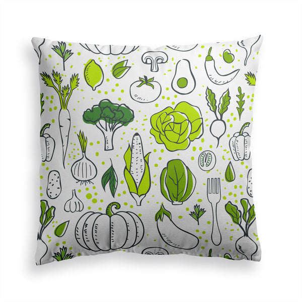 Decorative Throw Pillow Funny Fresh Vegetables Print, Vegan Pillow