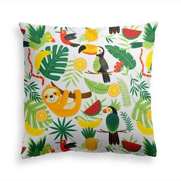 Wild Jungle, Colorful Animals Pillow Print, Animal Tucan Pillow