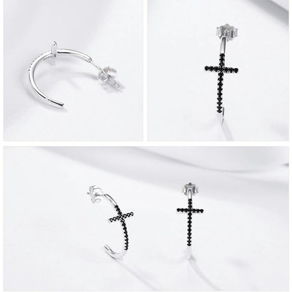 Classic Black Cross Earrings - ThreeSixtyZone