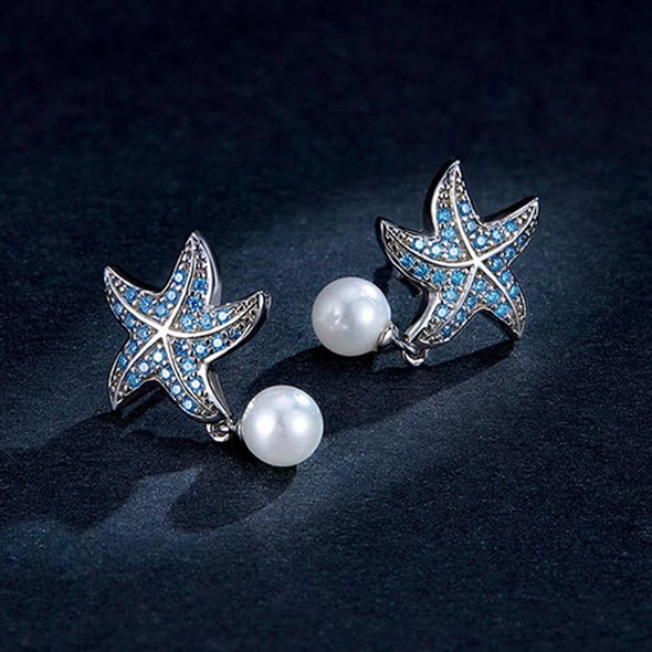 Ocean Blue Starfish with Pearl Stud Earrings - ThreeSixtyZone