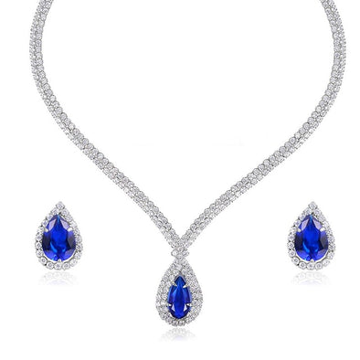 Brilliant Blue Waterdrop  Necklace and Earrings SET - ThreeSixtyZone