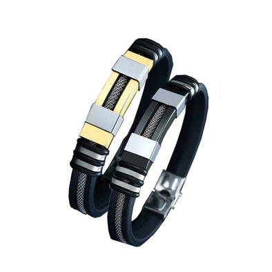 Vincent Stainless Steel - Silicone Bracelet - ThreeSixtyZone