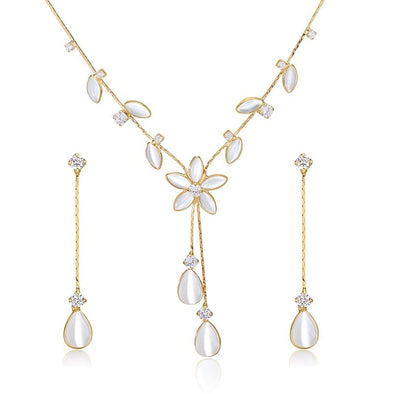 Cat's Eye Flower Necklace and Earrings SET - ThreeSixtyZone