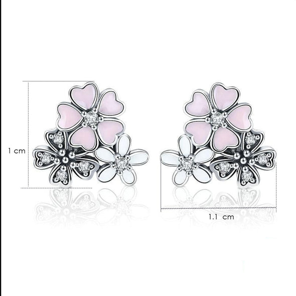 Cherry Blossoms Flower Stud Earrings - ThreeSixtyZone