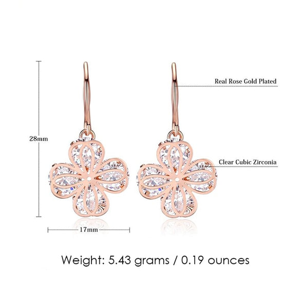 Clover Loop Earrings (Rose Gold) - ThreeSixtyZone