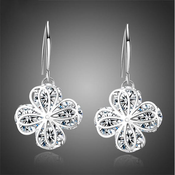 Clover Drop Earrings (White Gold) - ThreeSixtyZone