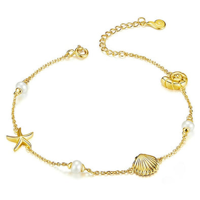 Starfish with Pearl Shell Chain Bracelet - Summer Series - ThreeSixtyZone