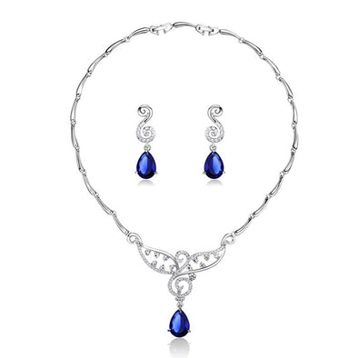 Luxury Blue Pear Cut Necklace and Earrings Set - ThreeSixtyZone