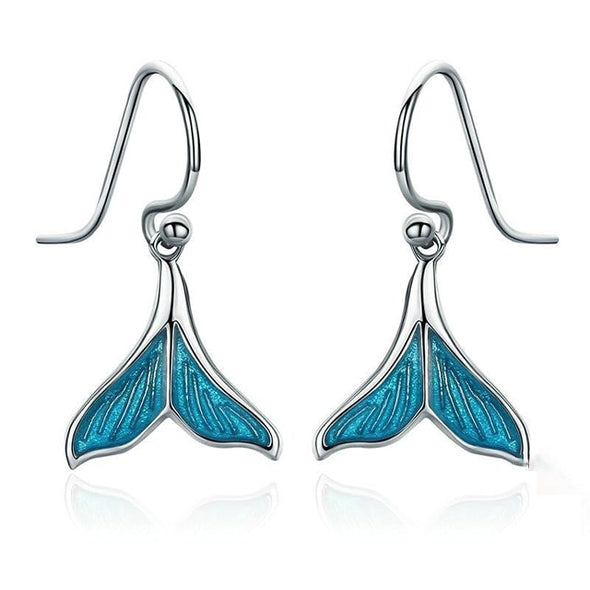 Ocean Blue Enamel Mermaid Drop Earrings - ThreeSixtyZone