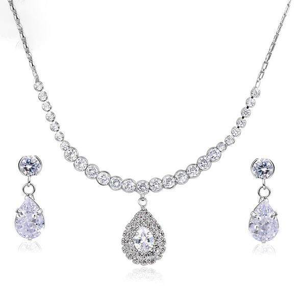 Dazzling Water Drop Necklace and Earrings SET - ThreeSixtyZone