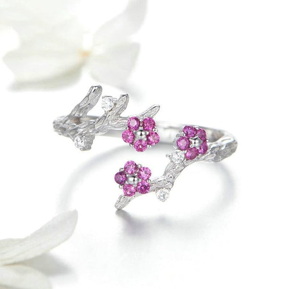Blooming Plum Flower Ring - ThreeSixtyZone
