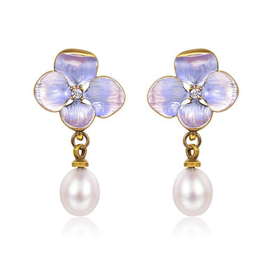 Flower Pearl Drop Earrings - ThreeSixtyZone