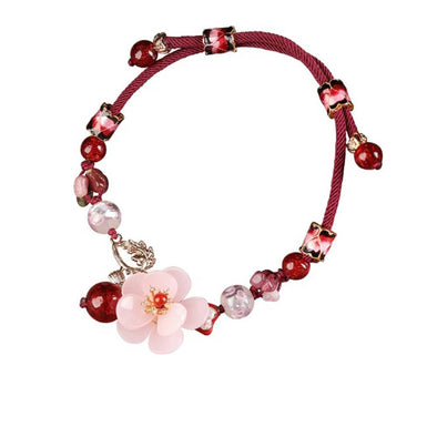 Cherry Blossom Tourmaline Agate Anklet - ThreeSixtyZone