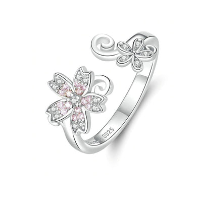 Pink Sakura Cherry Flower Ring - ThreeSixtyZone