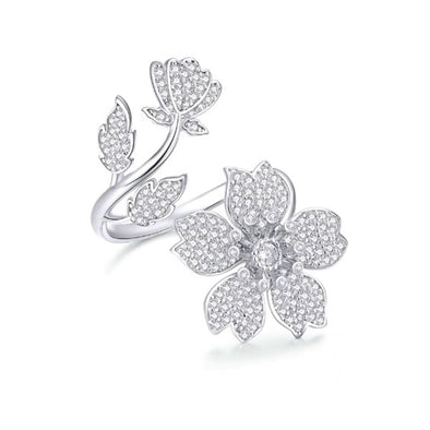 Spring Sakura Flower Open Ring - ThreeSixtyZone